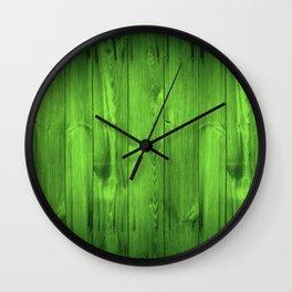 Green Grass Wood Planks Wall Clock