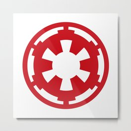 Imperial Cog in Red and White Metal Print