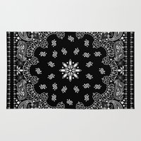 2pac Area & Throw Rugs featuring black and white bandana by Marta Olga Klara