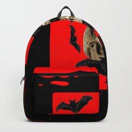 BAT INFESTED HAUNTED SKULL ON BLEEDING HALLOWEEN ART Backpack
