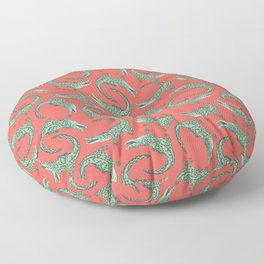 Crocodiles (Deep Coral and Mint Palette) Floor Pillow