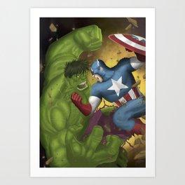 Hulk vs. Capt America Art Print