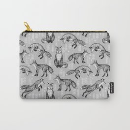 Fox pattern drawing foxes cute andrea lauren grey forest animals woodland nursery Carry-All Pouch