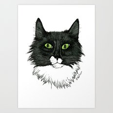 Curly Sue the Tuxedo Cat Art Print
