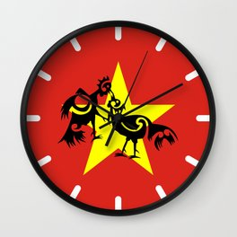 Vietnam Flag, Roosters Sparring Wall Clock