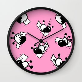Hearts with Stitches - Black with Pink Wall Clock