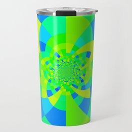 Green & Turquoise Kaleidoscope Design Travel Mug
