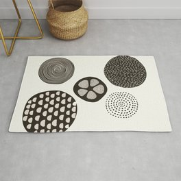 Abstract Circles in Cream Rug
