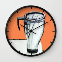 coffee Wall Clocks featuring Coffee  by Brontosaurus