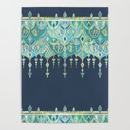 Art Deco Double Drop in Blues and Greens Poster