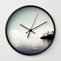 island Wall Clocks featuring island by noirblanc777