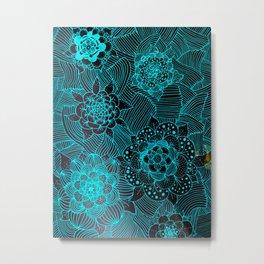 Electric Blue Flowers Metal Print