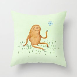 Sloth & Butterfly Throw Pillow