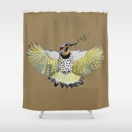Northern flicker of hope watercolor painting. Shower Curtain
