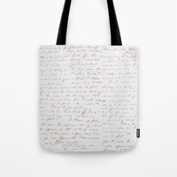 writing Tote Bags featuring Vintage Writing by ForeverCreativity