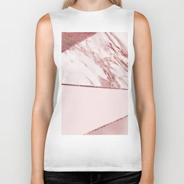 Spliced mixed pinks rose gold marble Biker Tank