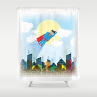 superman Shower Curtains featuring SUPERMAN by voskovski