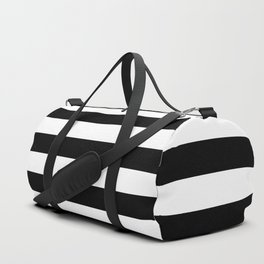 Black and White Medium Stripes Pattern Duffle Bag
