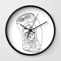iggy Wall Clocks featuring IGGY POP by Stupid Little Squares