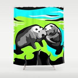 MANATEE LOVE in Blue Green Underwater Shower Curtain