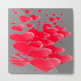 PINK CANDY VALENTINES HEARTS IN  GREY Metal Print
