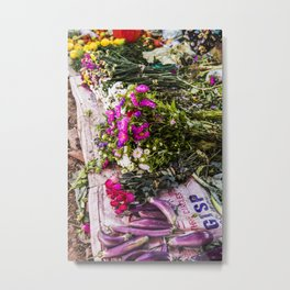 Tropical flowers local market Myanmar | Inle lake, Asia, Bright & Colorful Travel & Botanical Nature photography in Myanmar Metal Print