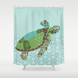 S is for Single Sea Turtle Shower Curtain