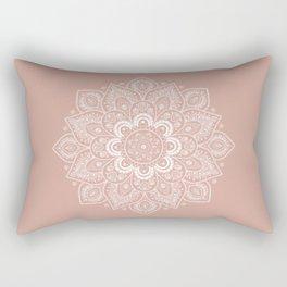 Mandala Flower in Ash Pink Rectangular Pillow
