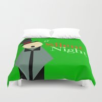 silent Duvet Covers featuring Silent Night by Bunhugger Design