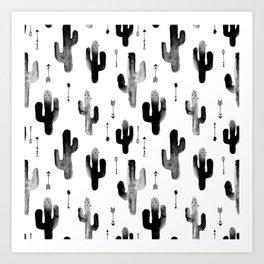 Black and white ink cactus garden indian summer Art Print