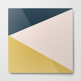 Jag. Minimalist Geometric Color Block in Navy Blue, Mustard Yellow, and Pale Blush Pink Metal Print