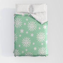 Mid Century Modern Sun and Star Pattern Mint Green Comforters