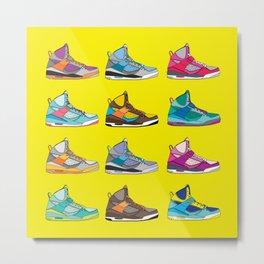 Colorful Sneaker set yellow illustration original pop art graphic print Metal Print