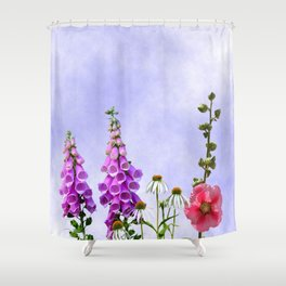 Summer flowers against a blue sky Shower Curtain