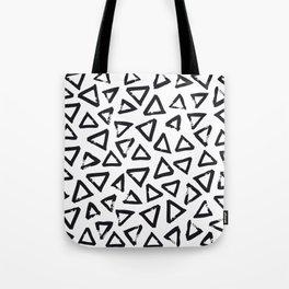 Black Brushstroke Triangel Pattern, Scandinavian Design Tote Bag