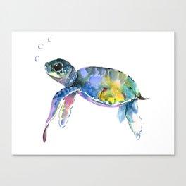 Sea Turtle, children artwork Illustration Canvas Print