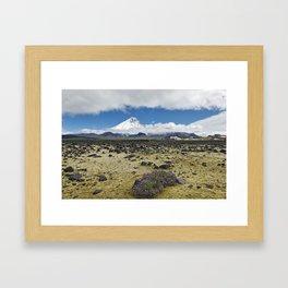 Beautiful mountain landscape, view volcano and tundra on Kamchatka Peninsula Framed Art Print