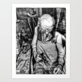 The Cobbler ( Black & White ) Art Print