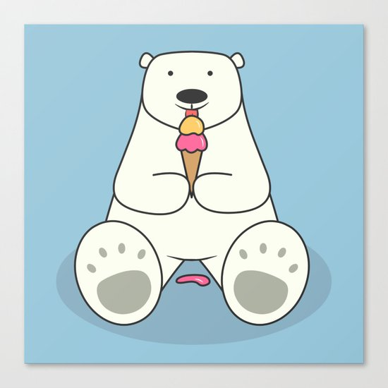 Ice Cream Lover Bear Canvas Print