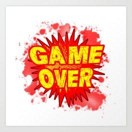 Game Over Cartoon Comic Explosion Art Print
