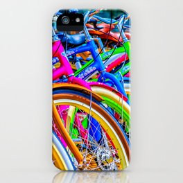 Colorful bicycles in a row iPhone Case