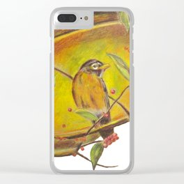 Festive Christmas Bird on a Berry Tree for Autumn and the Holidays Clear iPhone Case