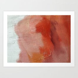 Desert Journey [1]: a textured, abstract piece in pinks, reds, and white by Alyssa Hamilton Art Art Print