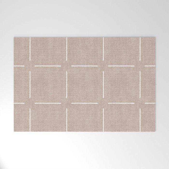 Block Print Simple Squares in Tan Welcome Mat