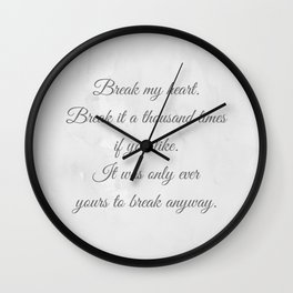 Kiera Cass - The One quote Wall Clock