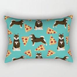 shiba inu pizza black and tan dog breed pet pattern dog mom Rectangular Pillow