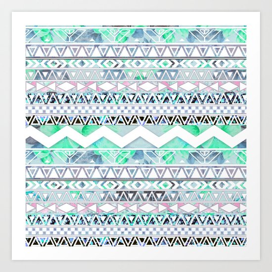 Teal Girly Floral White Abstract Aztec Pattern Art Print
