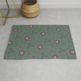 Bohemian Peacock and Leaf Thread Weave Pattern \\ Yellow Green Blue Purple Color Scheme Rug