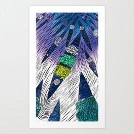 FLOATING MARKET| WOOD-CUT | PURPLE |PRINT DOWNLOAD Art Print