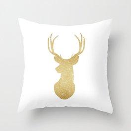 Gold Glitter Reindeer Throw Pillow